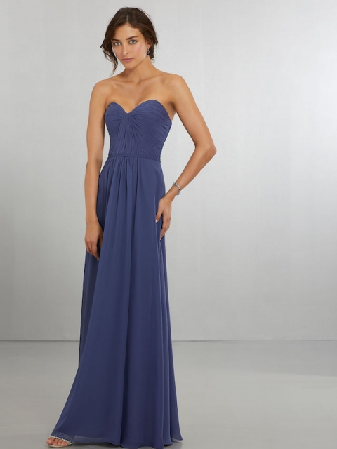 Mori Lee bridesmaid dress style number 21565. Classically Modern A-Line Chiffon Gown with Draped, Sweetheart Bodice That Wraps Around to the Zipper Back. Shown in Storm.