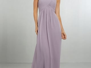 cb12c19215 Mori Lee bridesmaid dress style number 21570. Draped Halter Chiffon Gown  with High Neckline and
