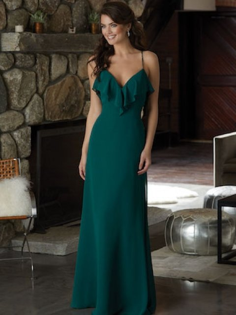 Emerald Color Chiffon Bridesmaid Dress Featuring a Ruffled V-Neckline and Beaded Spaghetti Straps that Cross at the Back.
