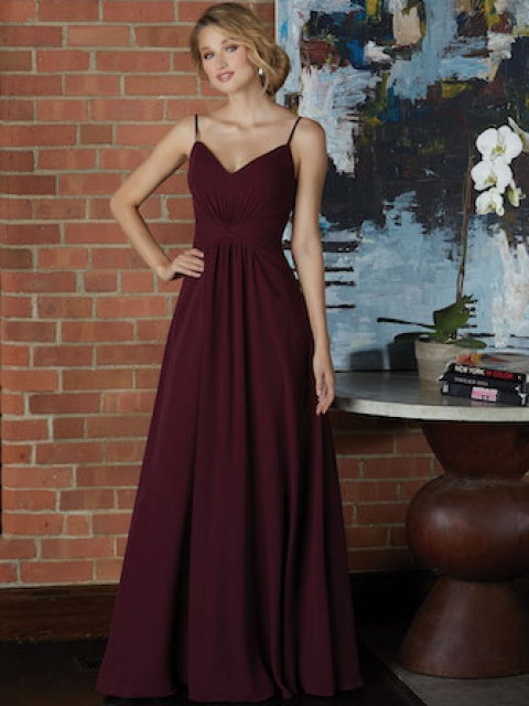 Classic V-Neck Chiffon Bridesmaid Dress with Draped Twist Front Bodice. Shown in Bordeaux.