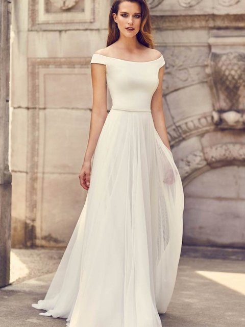 plain crepe off the shoulder wedding dress with soft tulle skirt, Canadian Made Mikaella Bridal under $ 2400