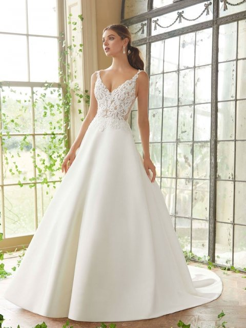 lace bodice with v neck and sheer lining and satin aline skirt Mori Lee wedding dress under $2000