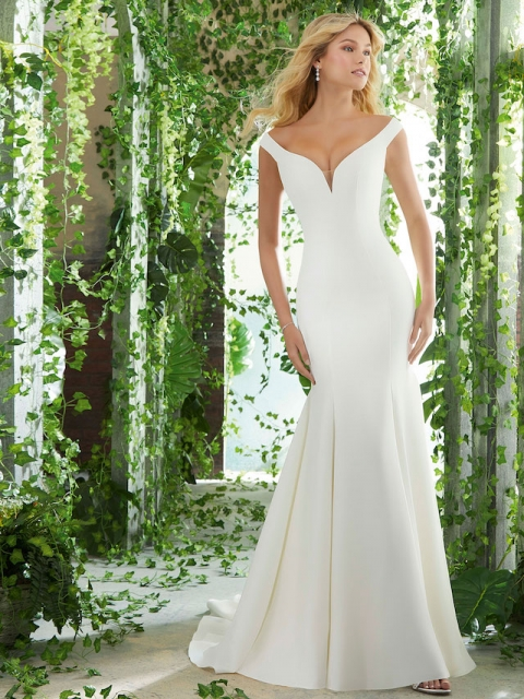 plain crepe fitted Mori Lee wedding dress with an off the shoulder neckline and stretch crepe fabric under $1700