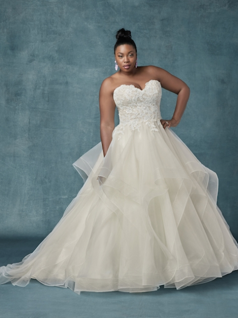 ruffle bottom Maggie Sottero plus size wedding gown with shimmer tulle skirt and lace and beaded strapless bodice under $2400