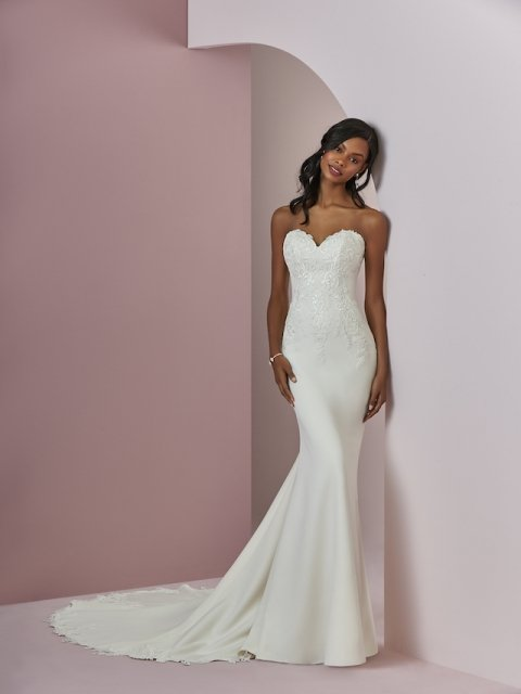 Crepe fitted Rebecca Ingram wedding dress with lace details and covered buttons under $1700