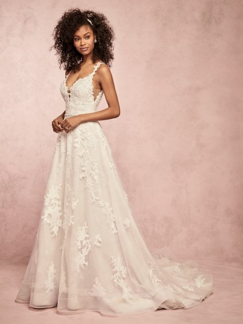lace aline Rebecca Ingram wedding dress with lace straps and lace details, light weight under $1600