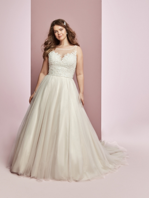 Plus Size illusion neckline and illusion back Rebecca Ingram wedding dress, with bead and lace detailed bodice and tulle skirt under $1900