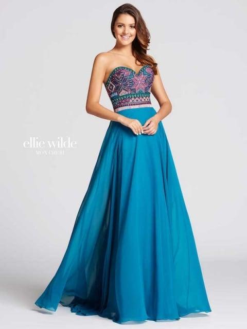 Elle Wilde long prom dress style number EW118039. Shown in Teal/Multi.